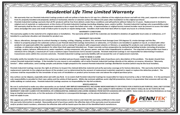 Life Time Limited Warranty